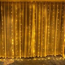 3X3m 300 LED lampy ozdoby kurtyny nowy rok światła ozdoby choinkowe dla domu strona ślubny wystrój domu