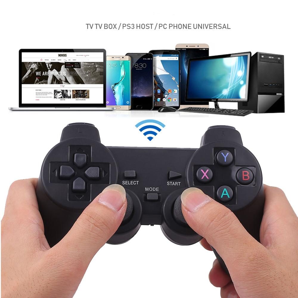 2.4G Wireless Game Controller Shock Gamepad With Micro USB OTG Converter Adapter For Android TV Box Phone Console PS4 Nintend(China)