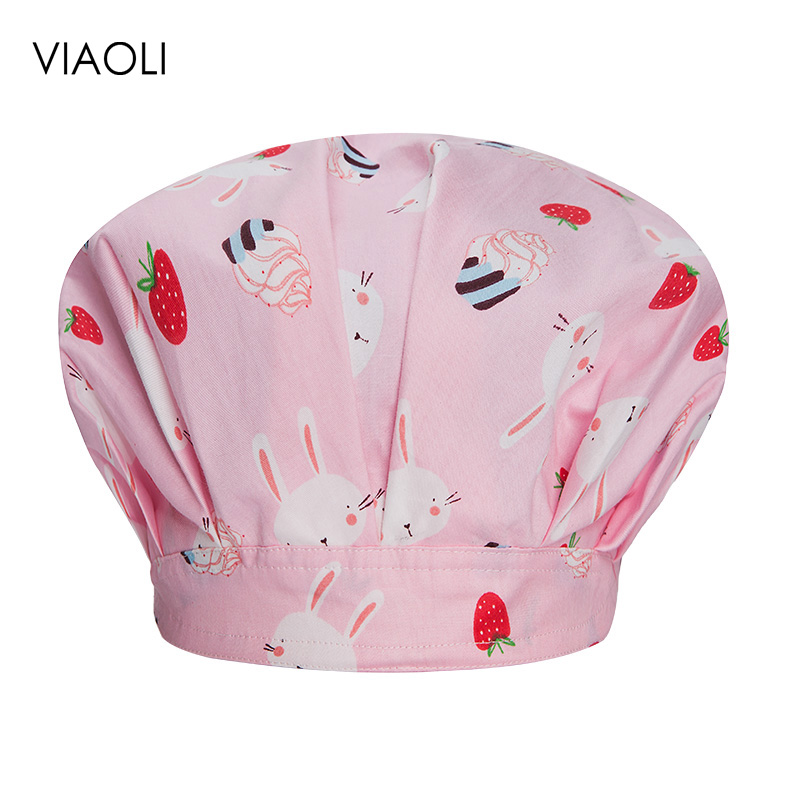 VIAOLI Print Black Tieback Elastic Section 100% Cotton Surgical Caps Scrub Caps For Men Women Hospital Medical Hats Arrival 150