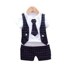 T-Shirt Shorts Baby-Boys-Girls Tracksuits Gentleman-Tie Summer Kids Children Plaid Cotton