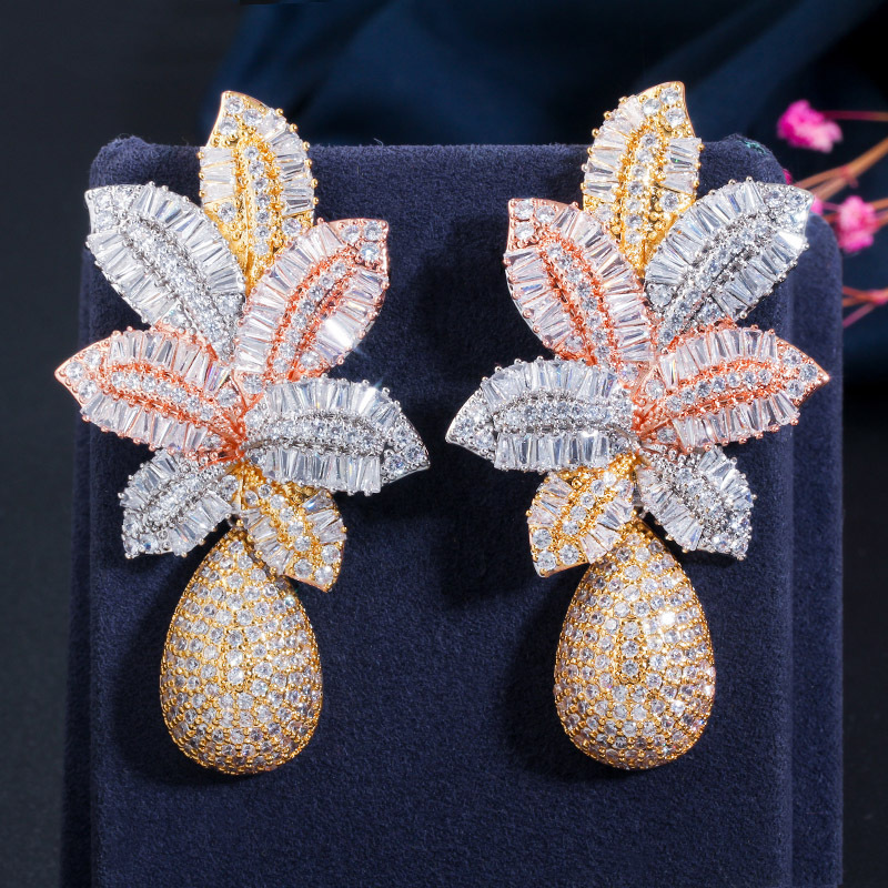 3 Tone Gold Luxury Large Earring Leaf Drop Flower Micro Cubic Zirconia Paved Naija Wedding Party Earring for Women
