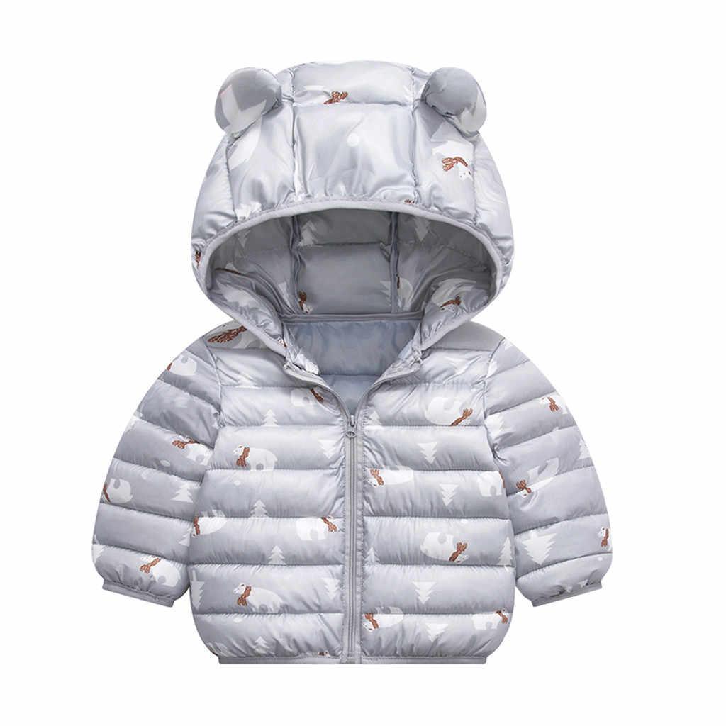 Toddler Kids Boys Girls Winter Cartoon Zipper Hooded Thick Coat Outwear Jacket