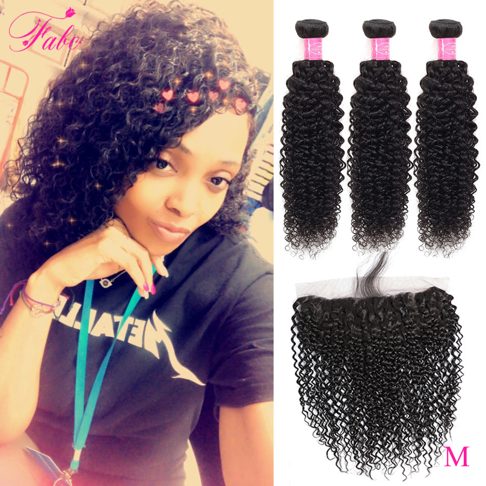 FABC Brazilian Hair Weave Bundles Kinky Curly Human Hair Bundles With Frontal Pre Plucked Middle Ratio Non-remy Hair