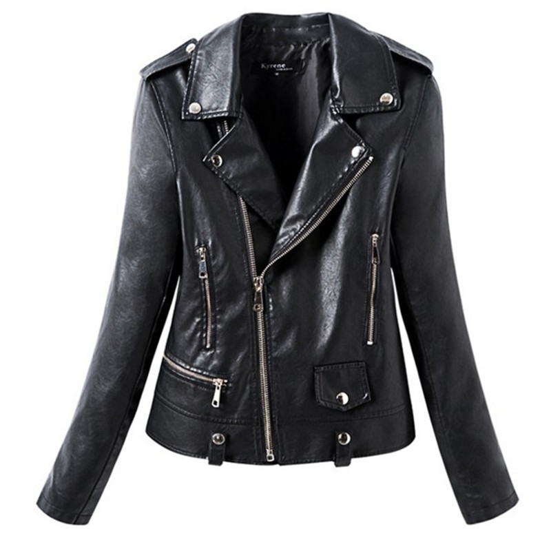2018 Autumn Winter Faux   Leather   Jacket Women Casual Basic Jacket Coat Motorcycle Lady Female Fashion Zipper Street Black Color