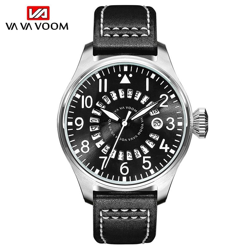 VA VA VOOM High Quality Men's Watch Sport Casual Quartz Watches Date Display Wristwatch Leather Strap Watch man montre homme