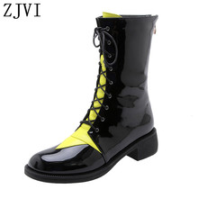 ZJVI women patent cross tied winter mid calf snow rainboots square heels woman ladies boots shoes for girls flats 2019 new