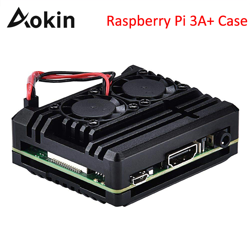 Aokin For Raspberry Pi 3A+ Case Heat Sink Raspberry Pi 3A+ Shell Aluminum Alloy Dual Cooling Fan Case