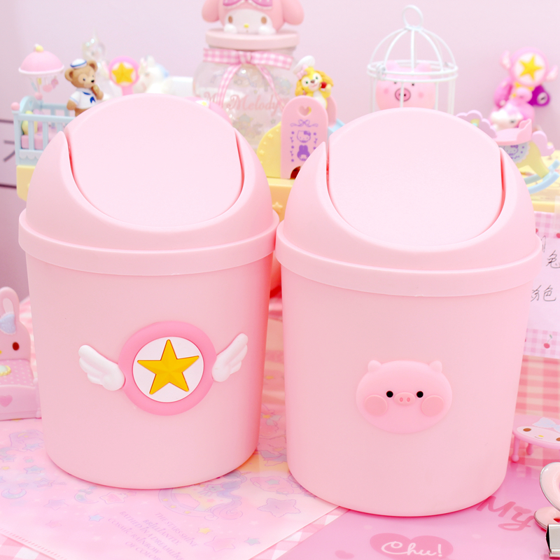 1Pc Lovely Pink Wings Pig Creative Mini Small Waste Bin Flip Cover Desktop Table Dustbin For Bathroom Office Wastebasket Storage