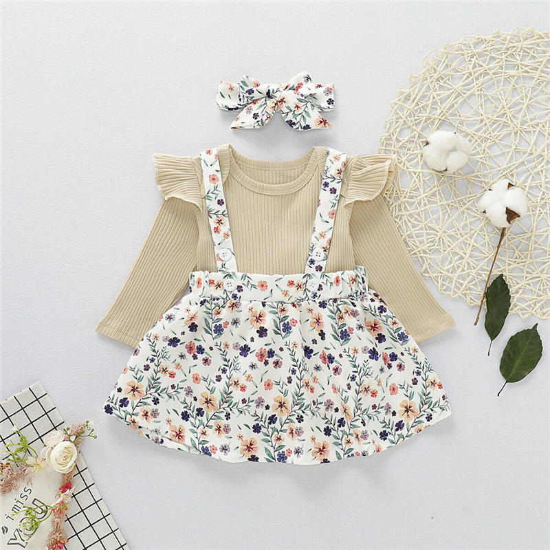 2019 Brand 0-18M Newborn Baby Girl Clothes Winter New Knit Flower Romper Jumpsuit Top+<font><b>Bib</b></font> <font><b>Skirts</b></font>/Pants Headband Outfit Cute 3PCS image