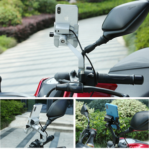 Image 2 - Universal Aluminum  Bike Motorcycle Phone Holder With USB Charger Support Moto GPS Handlebar Bracket Stand for SmartPhone Mount