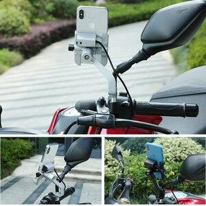 Image 3 - Uniwersalny aluminiowy uchwyt na telefon do motocykla z ładowarką USB wsparcie Moto GPS uchwyt na kierownicę stojak na uchwyt do smartfona