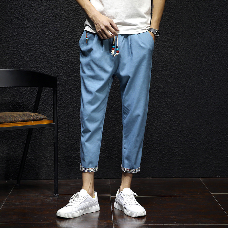 2019 Summer New Style Fashion MEN'S Casual Pants Retro Japanese-style Versatile Linen Pant Flax Capri Pants