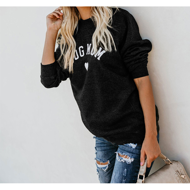 Dog Mom Women Velvet Hoodies Women Long Sleeve Sweatshirt Women Heart-shaped Print Hoodie Sudadera Mujer Sweat Femme Riverdale