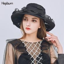Hepburn brand Derby Flat-Bottom Organza Wide-Brim summer beach hat for women Elegant High grade Flower sun visor hats