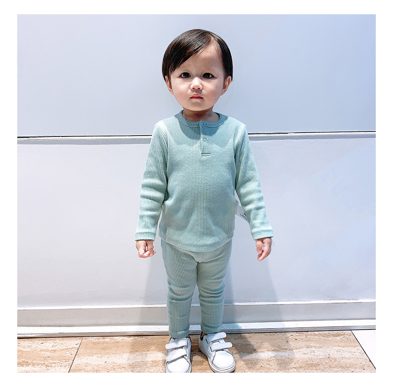 Soft Ribbed Toddler Girl Pajamas For Baby Boys Clothes Set Autumn Winter Children Outfits Long Sleeve Tops Pants 2 Pcs Kids Suit (23)