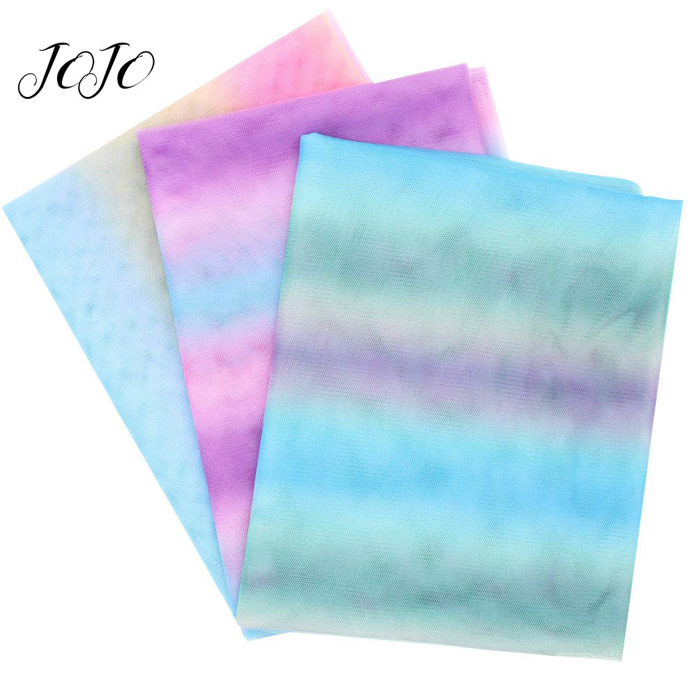 JOJO BOWS 90 150cm 1pc Rainbow Gradient Mesh Fabric For Needlework Mesh Sheet For Craft Home Textile Sewing Home Wedding Decor in Fabric from Home Garden