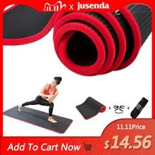 Jusenda 10MM Yoga 183X61Cm NBR Tập Gym Thể Hình Thể Thao Pilates Miếng Lót Thảm Edge Bao Phủ Rách chống Yoga Matt Có Túi Đựng & Dây Đeo