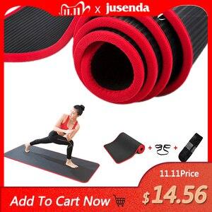 Image 1 - Jusenda esterilla de Yoga NBR, 10MM, 183x61cm, almohadillas deportivas para Pilates, borde para alfombras, resistente a las roturas, mate con bolsa y correa