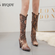 BYQDY Woman Knee High Boots Snake Print Thick High Heels Cowboy Boots Stripper Long Winter Patent Leather Female Thigh Shoes aiweiyi snake print winter boots for women stiletto heel high heels thigh high boots knee high boots fashion high heels boots