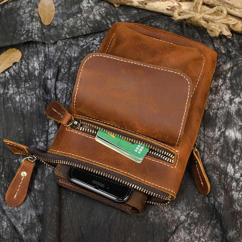 Maheu casual couro genuíno pequeno bolsa de ombro ao ar livre bolsa de telefone com alça de ombro sling saco com fivela na cintura cinto