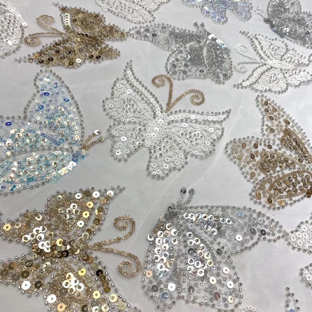 African Lace Fabric High Quality Lace Sequins Embroidery African French Beaded Lace Fabric For Wedding Dress ML8486