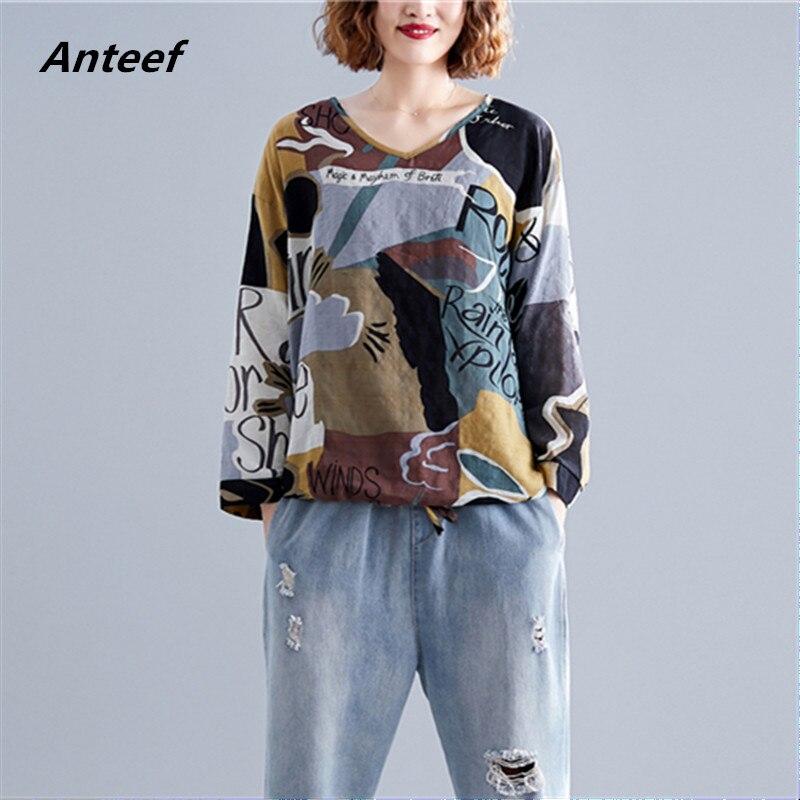 Korean Style Cotton Plus Size Vintage Autumn Casual Loose Tee T Shirt Women T-shirt Ladies Tshirt Clothes 2019 Tops Streetwear