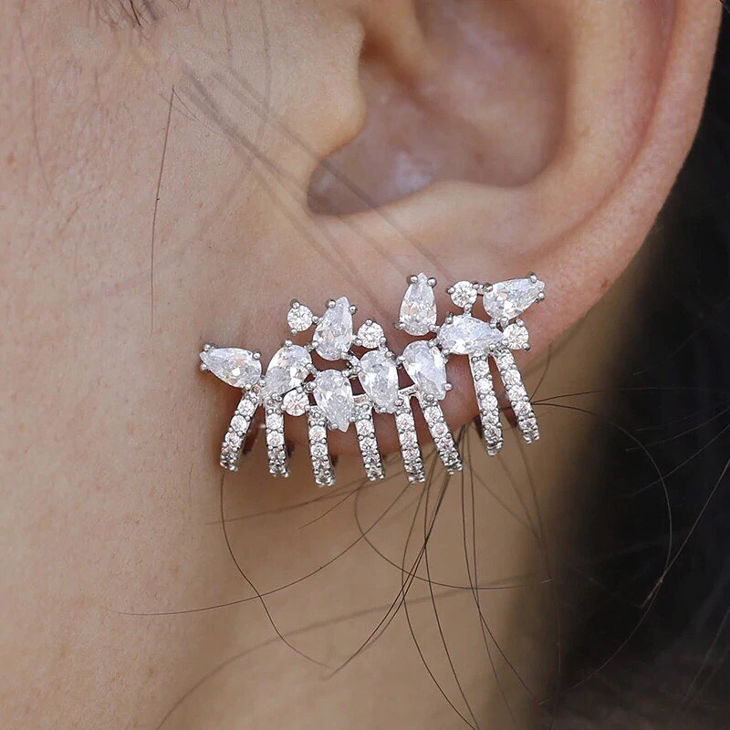 Sparking bling iced out white cubic zirconia cz jewelry earring rose gold...