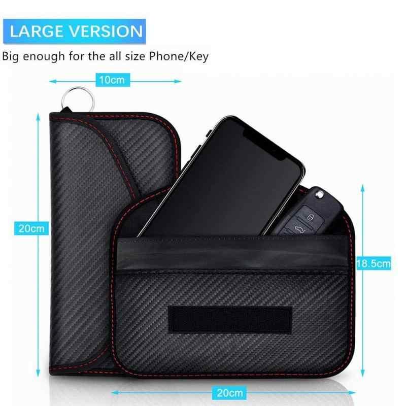 Sinyal Perisai Blocker Tas Ponsel Sinyal RF Shielding Bag Cover Tas Anti Radiasi Serat Karbon dengan Gantungan Kunci