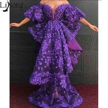 Модная классика Африканское фиолетовое вечернее платье с открытыми плечами 3D Цветочные уникальные платья Выпускной вечернее платье Robe de soiree Abendkleider