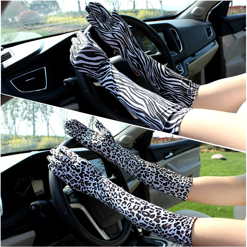 Fashion Sexy Women Leopard Full Finger Sunscreen Long Lace Gloves Summer Female Driving Pattern Sun Anti-UV Black Gloves C17