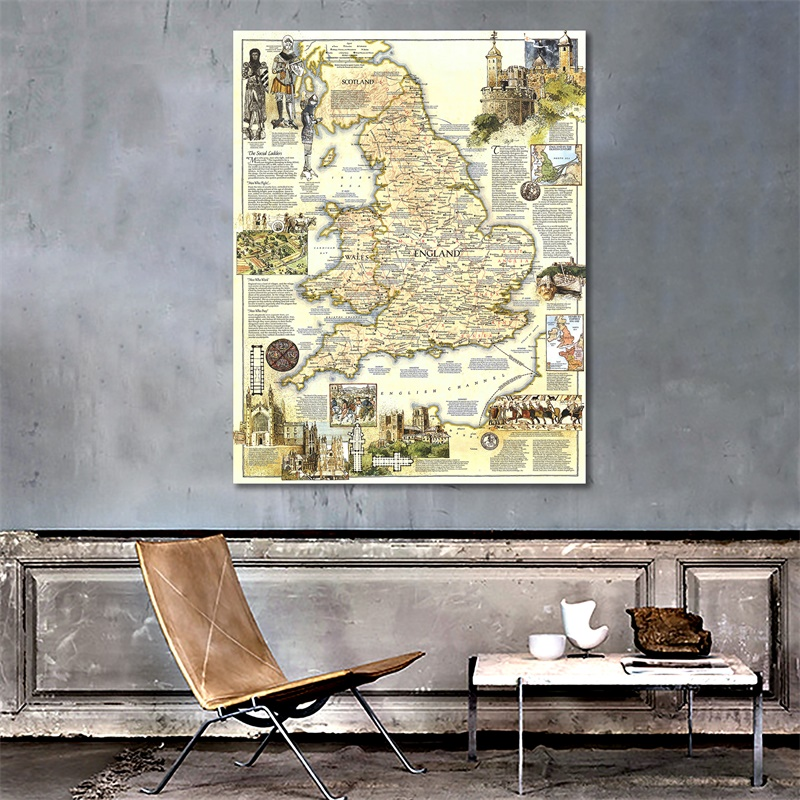 150x220cm HD Printed Medieval England Map Vinyl Spray Painting Waterproof Home Decor Painting Wall Art Map For Office Wall
