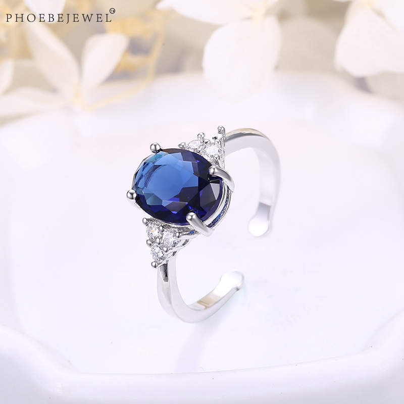 PHOEBEJEWEL Silver Color Open Rings With AAA Blue Oval CZ Women Best Friends Anniversary Engagement Fashion Jewelry Gift