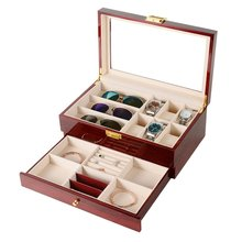 купить Luxury 20 Grids Solid Red Wooden Watch Box Jewelry Box Jewelry Display Organizer Case Watches Sunglasses Storage Box Caja Reloj по цене 2870.98 рублей