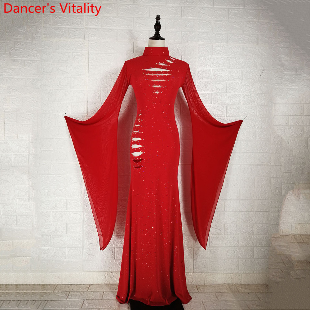 Winter Belly Dance Group Practice Clothes Diamond Cut Out Long Sleeve Robe Drum Oriental Indian Dancing Performance Stage Wear