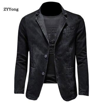 Denim Blazer Men Blazer Jeans Slim Fit Cowboy Coats Leisure Mens Suit Jean Jacket Men Casual Coat Single Button New 2020 wrangler men s tall george strait cowboy cut slim fit jean