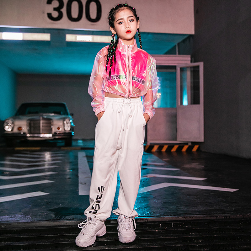 Hip Hop Costumes Kids Fashion Transparent Coat Girls Jazz Clothing Children Modern Dancing Outfit Cheerleader Stage Wear  DN4195