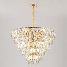 Luxury Gold Steel Round Lustre K9 Crystal Led Pendant Lights Luminaria Living Room Hanging Lamp Indoor Lighting Lamparas Fixture