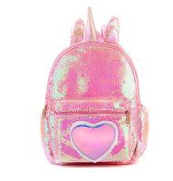 2019 New Women PU Leather Capacity Bag Female Fashion Sequins Unicorn Backpack Girl Book Bag Lady Cartoon Cute Bag