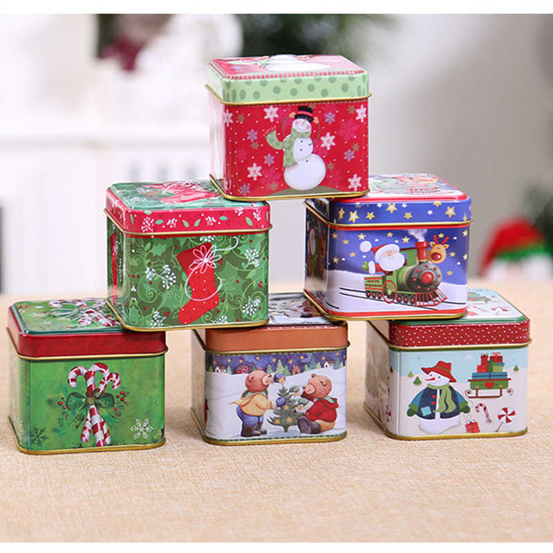 5pc Christmas Gift Tin Box Package Wedding Party Candy Baking Cookies Biscuit Case Gift Container Christmas Decoration for Home