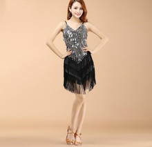 Wholesale Women Fringe Latin Dresses Girls Competition Tassel Dance Performance Costume Golden Cheap On Sale