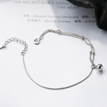 S925 Sterling Silver Round Bead Double Bracelet Simple Ornament