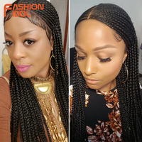 FASHION IDOL Braided Wig Synthetic Lace Front Wigs For Black Women Ombre Brown 34Inch Hair Braid Wigs Premium Braided Box Braids