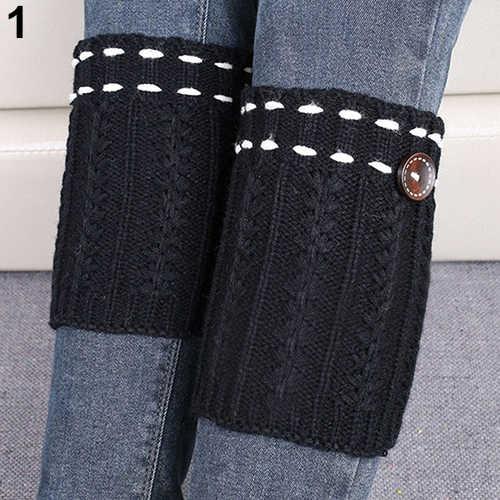 Kış uzun sıcak bacak ısıtıcıları örgü diz üstü çorap kadın Boot Topper çorap sıska çorap kız erkek Polainas