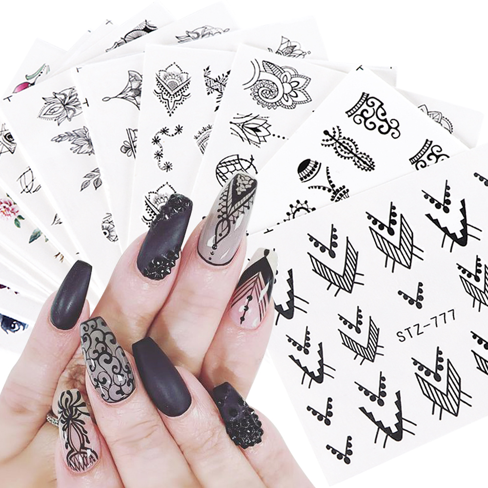 12pcs Water Decals Floral Jewelry Nail Stickers Black Geometry Hollow Designs Nail Wraps Slider Decoration Manicure JISTZ766-778