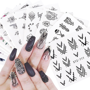 12pcs Water Decals Floral Jewelry Nail Stickers Black Geometry Hollow Designs Nail Wraps Slider Decoration Manicure JISTZ766-778(China)