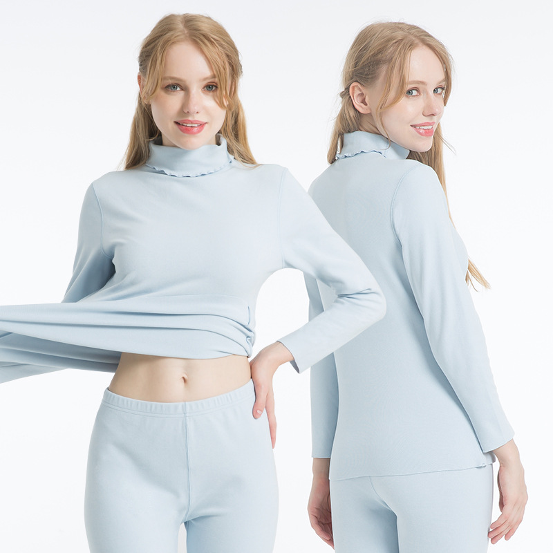 Autumn Winter Thermal Underwear Womens Seamless Long John Sets Second Skin Thermal Clothing Ladies Two Piece Set Shirt And Pants