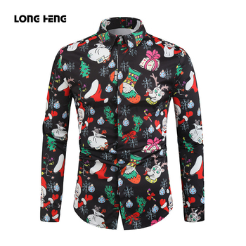 Men Christmas Shirt Casual Snowflakes Santa Candy Printed Top Blouse new Male Xmas Party Chemise Homme
