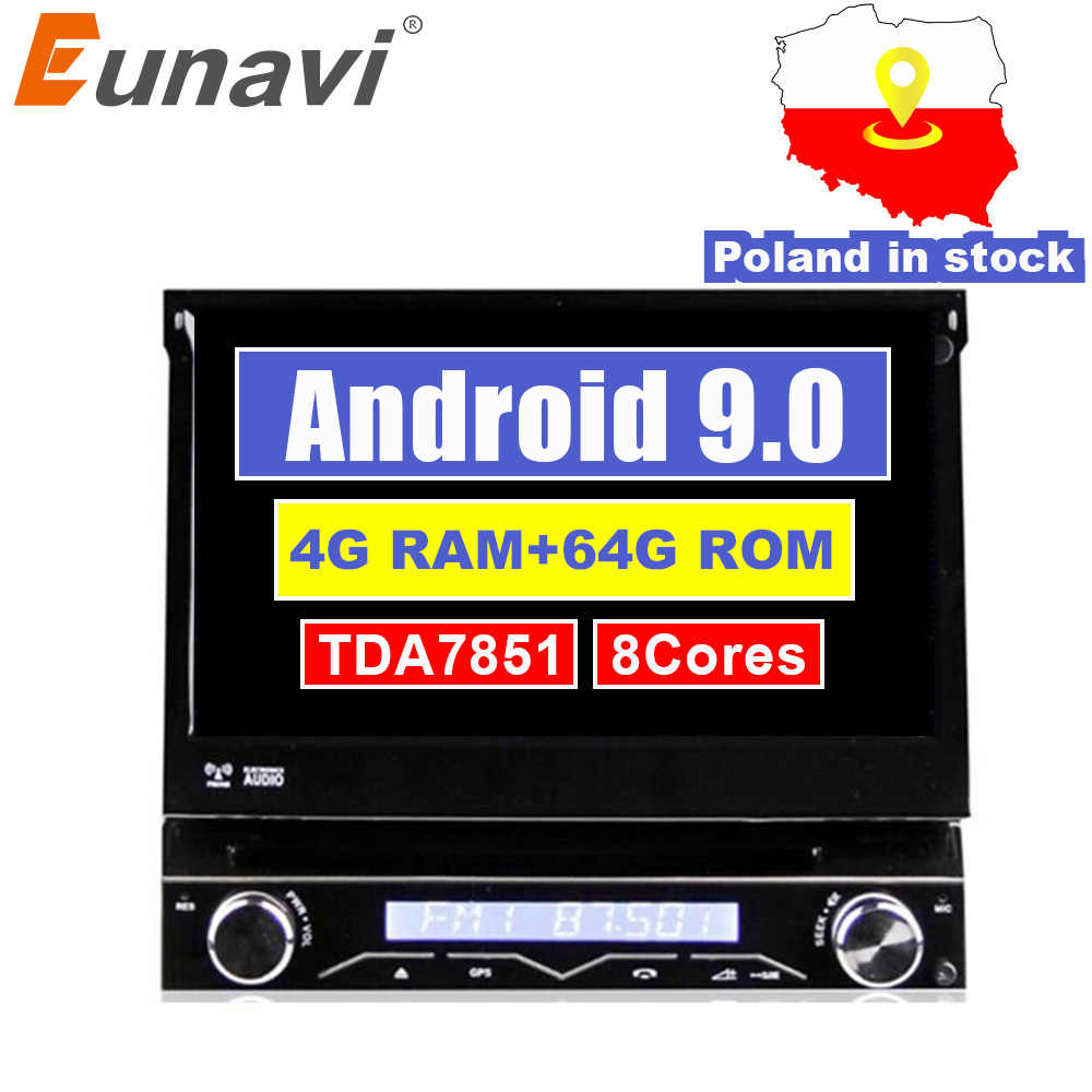 Eunavi 4G RAM 1 Din Android 9.0 Octa 8 Core Car DVD Player untuk Universal Gps Navigasi Stereo Radio akses Internet Nirkabel MP3 Audio USB SWC