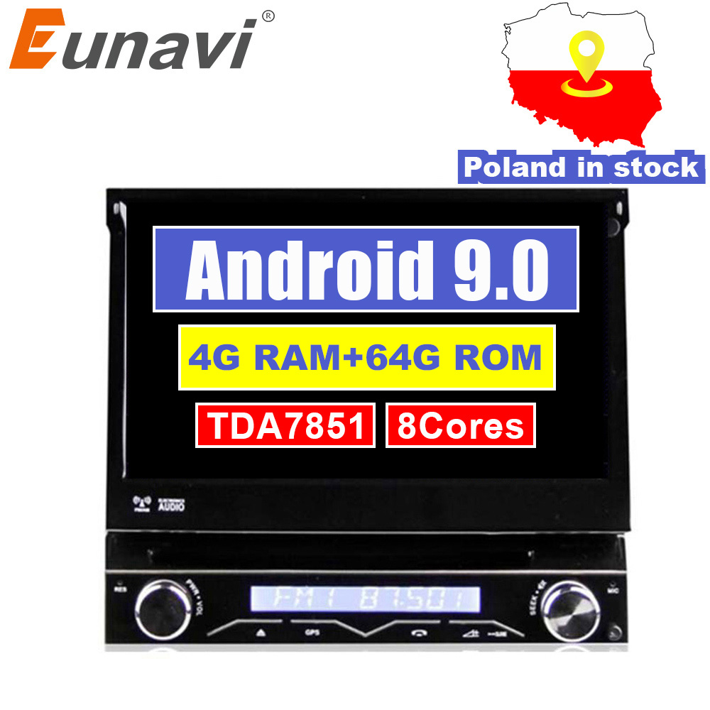 Eunavi 4G RAM 1 Din Android 9.0 Octa 8 Core Car DVD Player For Universal GPS Navigation Stereo Radio WIFI MP3 Audio USB SWC