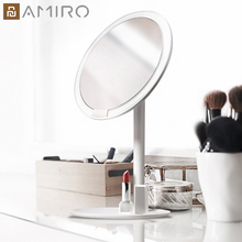 Amiro hd espelho regulável bancada ajustável 60 graus de rotação 2000 mah luz do dia maquiagem cosméticos led espelho para o presente do amante